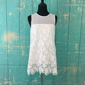 Cremiux white floral lace lined top